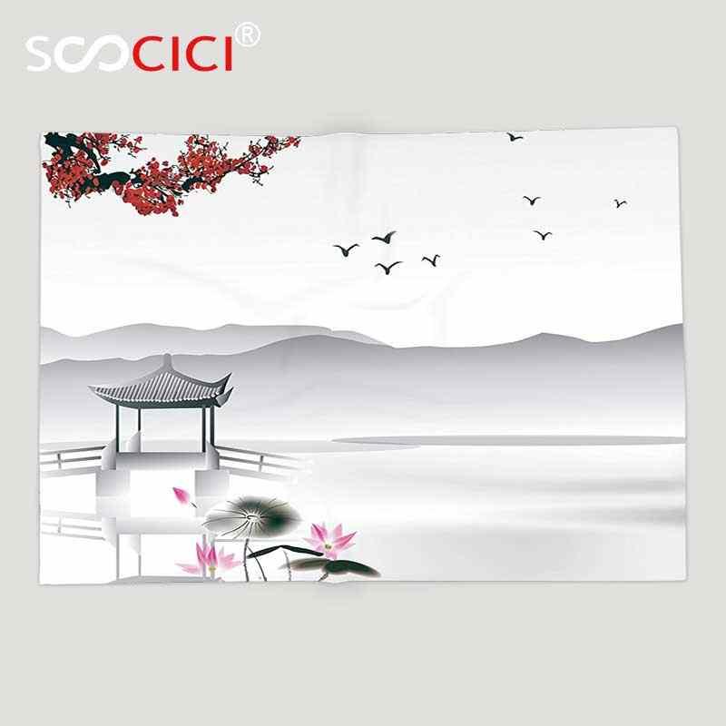 カスタムソフトフリーススローブランケットアジアの装飾コレクション日本のアジアスタイルガーデンで鳥と小さなパビリオン上湖