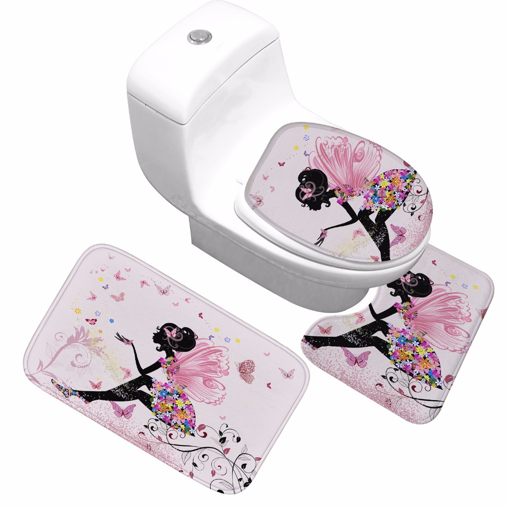 CAMMITEVER Home Decor Bathroom Rugs Colorful Butterfly Girl 3D Print Non-slip Washroom Carpet WC Toilet Soft Mat 3 PCS
