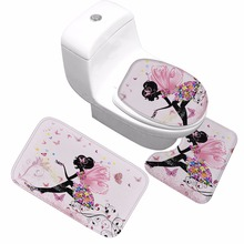 CAMMITEVER Home Decor Bathroom Rugs Colorful Butterfly Girl 3D Print Non slip Washroom Carpet WC Toilet Soft Mat 3 PCS