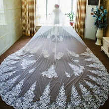 Long Veils Two Layers Lace Appliques Vintage Wedding Bridal Soft Tulle