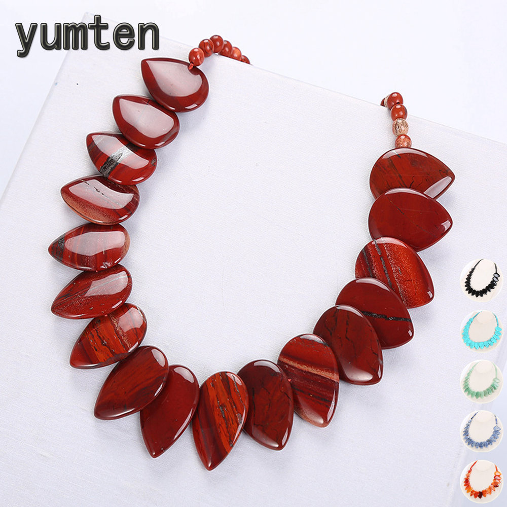 Yumten Leaf Pendant Necklace Ethnic Women Choker