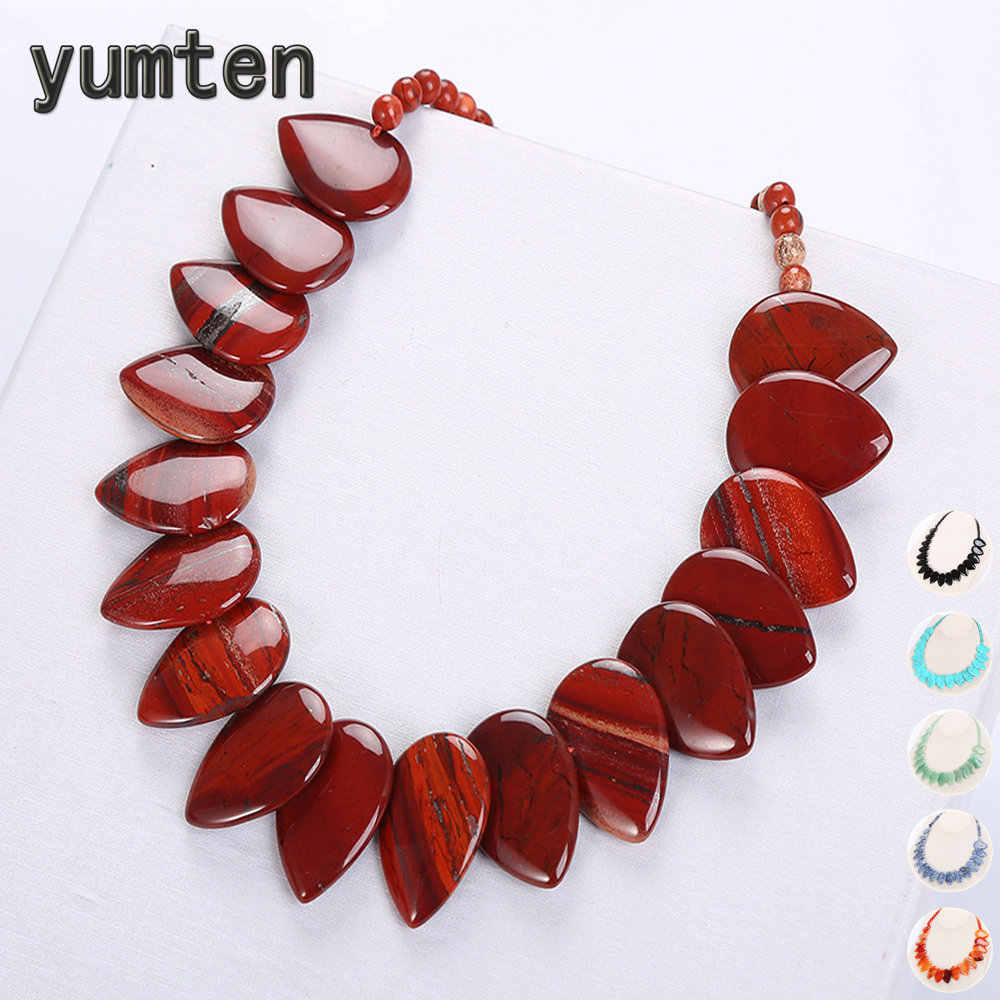 Yumten Leaf Pendant Necklace Ethnic Women Choker Natural Stone Jewelry Gem Men Female Fashion Accessories Vintage Male Bohemian