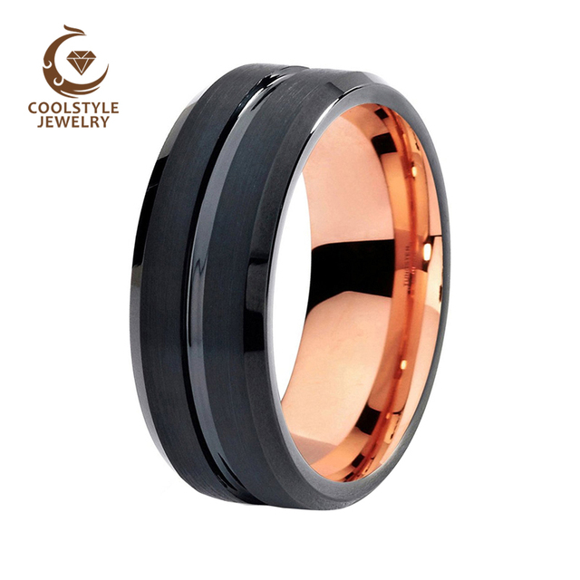 9b8f9df7a50 8mm Mens Womens Wedding Band Two Tone Black Rose Gold Color Tungsten  Carbide Engagement Ring Brushed Center Comfort Fit