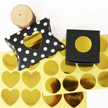 120PCS Gold Foil Paper Seal Sticker Round/Heart Packaging Decor Sticker Scrapbooking Baking Cookies Sealing Stickers