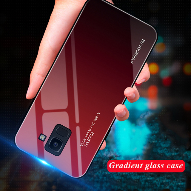 EKDME Tempered Glass Case For Samsung Galaxy S8 S9 S10 Plus S10e A5 2017 A7 A6 A8 J6 Plus J8 2018 Note 8 9 Aurora Colorful Cover