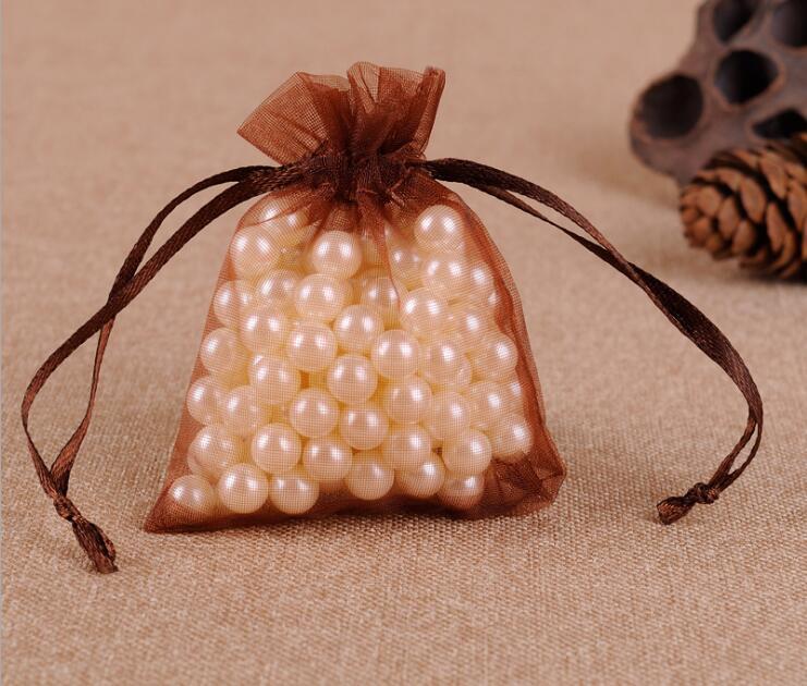 300 шт/партия 24 цвета большая сумочка для украшений из органзы 20x30 см сумка на шнурке Свадебные/вечерние украшения Подарочный мешочек для украшений упаковочная сумка - Цвет: brown-coffee