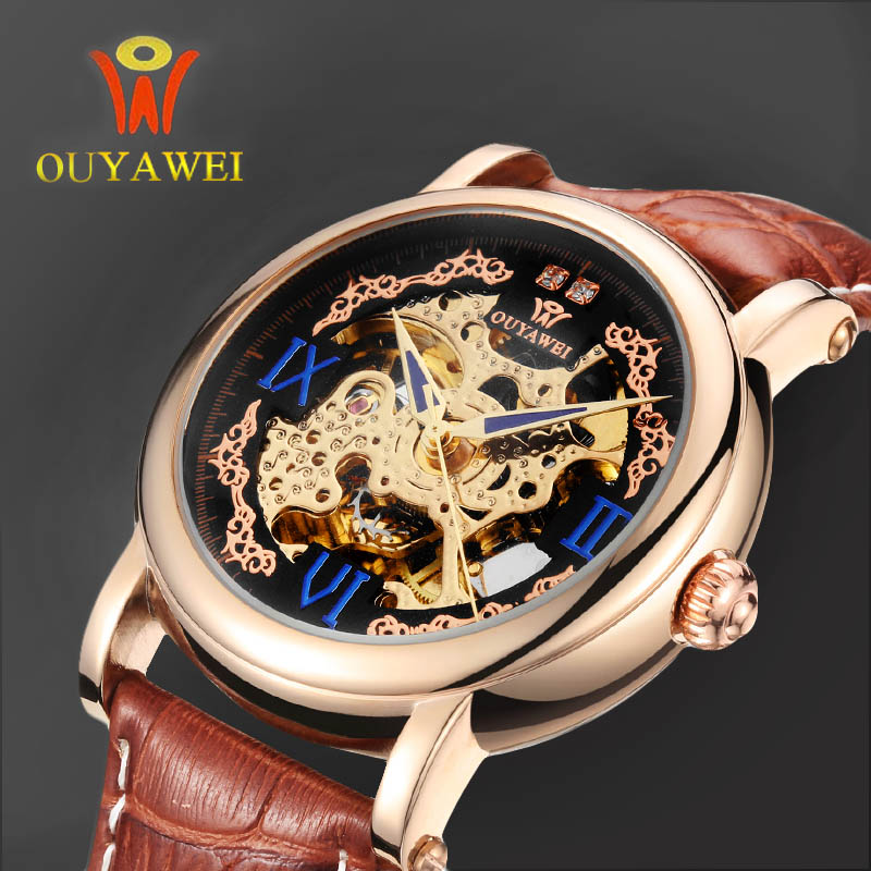 OUYAWEI Brand Gold Mechanical Watches Luxury Automatic Watches Mens Leather Strap Skeleton Wristwatches Reloj Hombre Gift Clocks ouyawei 2017 montre steampunk bronze skeleton mechanical watches mens antique automatic leather watch mechanical wristwatches