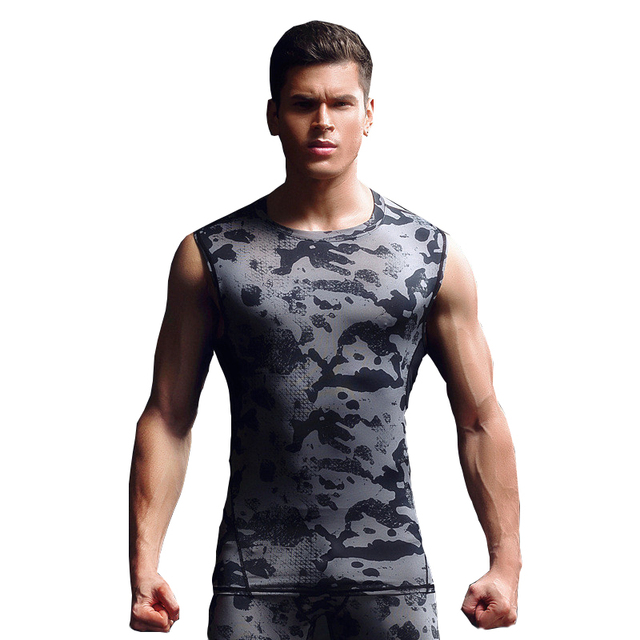 Compressão homens Camuflagem Regatas Crossfit Treino de Musculação Singlet  Undershirt Apertado Magro Corredores Masculinos Camo Colete adbef2f2a4a