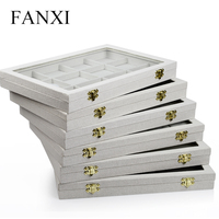 FANXI Classic Creamy white Linen Jewelry Display Case for Pendant Collection Showcase Tray with Glass Lid Shop Organizer