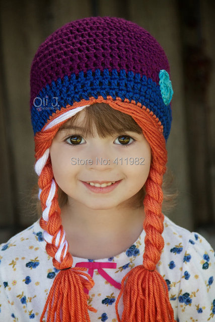 70c9abfd free shipping, Elsa Anna hat with wig plaited hair,100% Cotton crochet Hat  ,Princess Girl's hat - stock