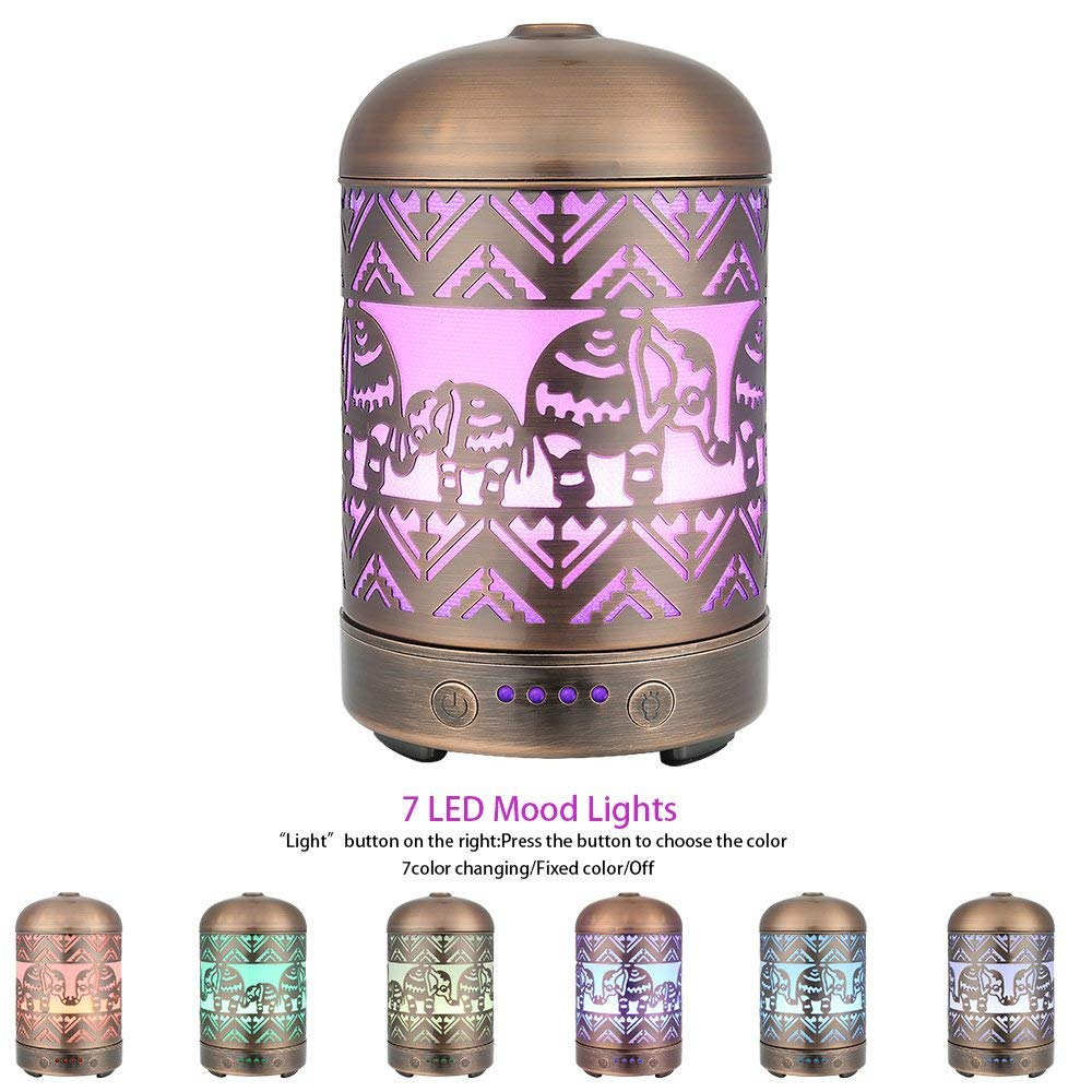 100ML Capacity Metal Elephant Pattern Air Humidifier Electric Aroma Essential Oil Diffuser With 7 Colors Soothing Night Light 4 Timer Sets Mist Maker