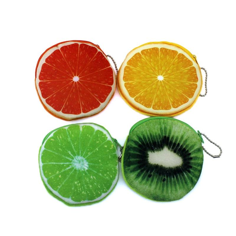 Cartoon 3D Print fruits coin purses kids Plush Watermelon Oranges ladies small wallet bag key case women handbag Card Holders blood oranges