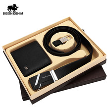 BISON DENIM Genuine Leather Men's Wallets Purse And Leather Belts Male Gift Box Set For Valentine Day Husband