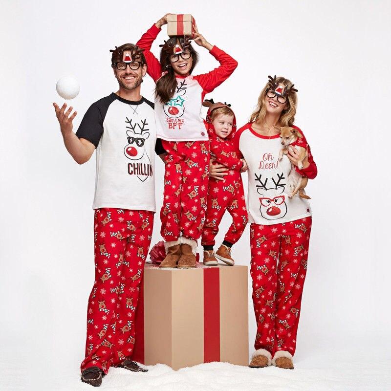 Family Matching Christmas Pajamas Set Mum Dad Kids Sleepwear Nightwear Pjs Xmas Clothes