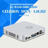 The cheapest desktop computer case C1037U 4g ram 500g hdd desktop pc support full screen movies mini pc thin client