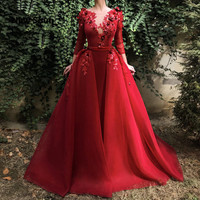 Red Tulle Applique Evening Dresses With Detachable Skirt Illusion Neckline Long Sleeves Evening Gowns Saudi Arabic Prom Dress