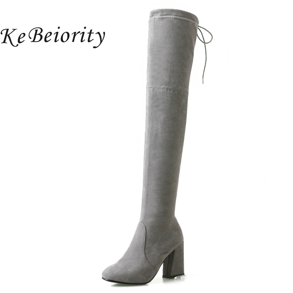KEBEIORITY Fashion Women Long Boots High Heel Over the Knee Boots Female Black Grey Autumn Winter Women Shoes Zipper Boots 2017