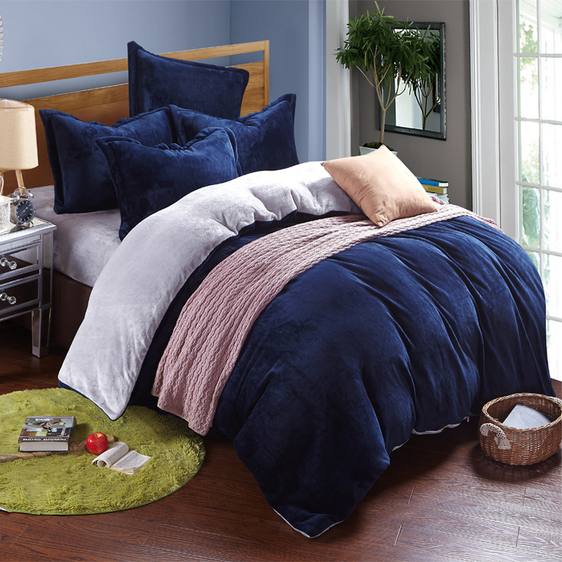 Winter fleece bedding set AB side duvet cover flannel fleece flat sheet 3 / 4pcs solid h ...