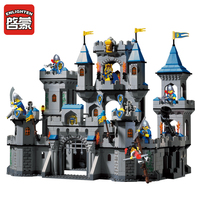 Large Scale Building Blocks Sets Enlighten Medieval Lion Castle Knight Carriage Model Toys For Children Compatible