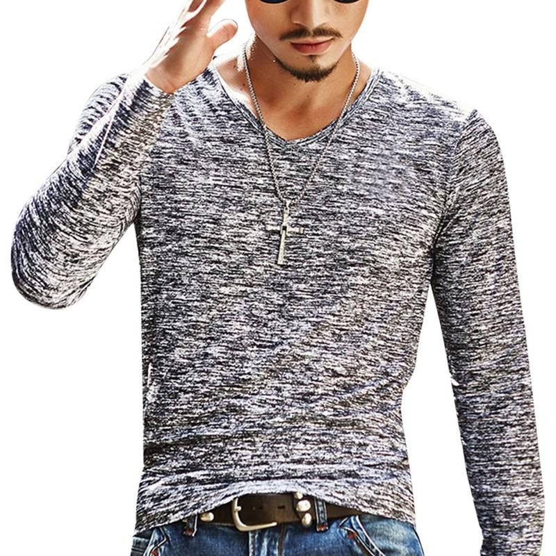 2020 Men Casual T Shirts Fitness Slim Long Sleeve Tops Tees Shirt Mens Clothing Fashion 3XL Oversized V Neck Tshirt Streetwear