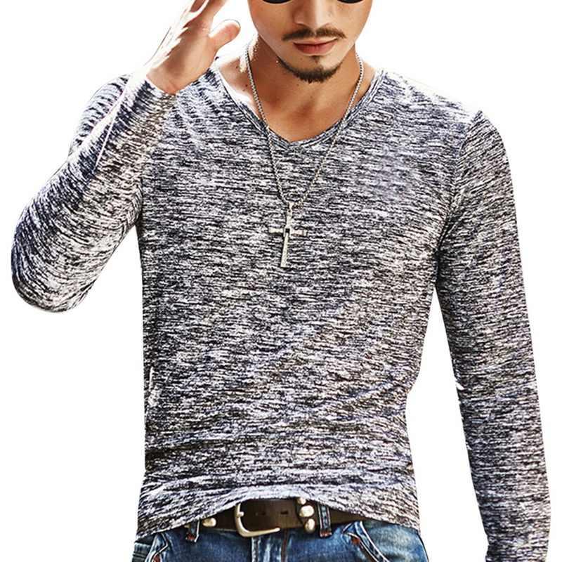 Camisa de manga longa masculina de outono t camisa casual magro básico topos camiseta de roupas de verão com decote em v camisa superior camisetas plus size 3xl