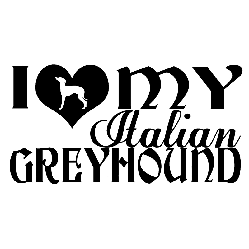 30cm I Love My Italian Greyhound Fashion Stickers Decals Car Styling 6z-0028