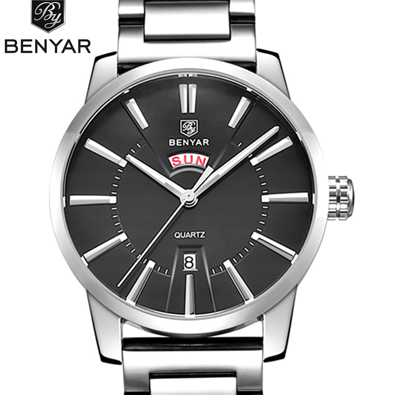 Benyar 2017 Men Watches Top Brand Luxury Date Hours Clock Male Stainless Steel Casual Blue Quartz Watch Men Sports Wristwatch 2017 men watches brand hour date week clock male stainless steel luxury quartz watch men casual sport wristwatch