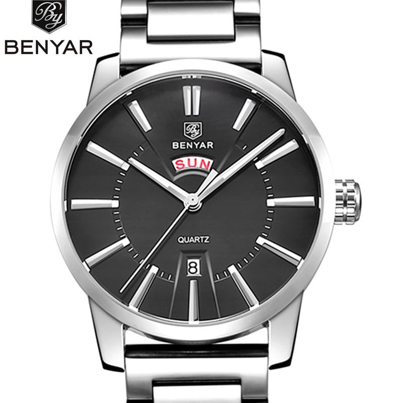Benyar 2018 Homens Relógios Top Marca de Luxo Data Horas de Relógio de Aço Inoxidável Masculino Casual Azul Relógio De Quartzo Homens Esportes Relógio de Pulso
