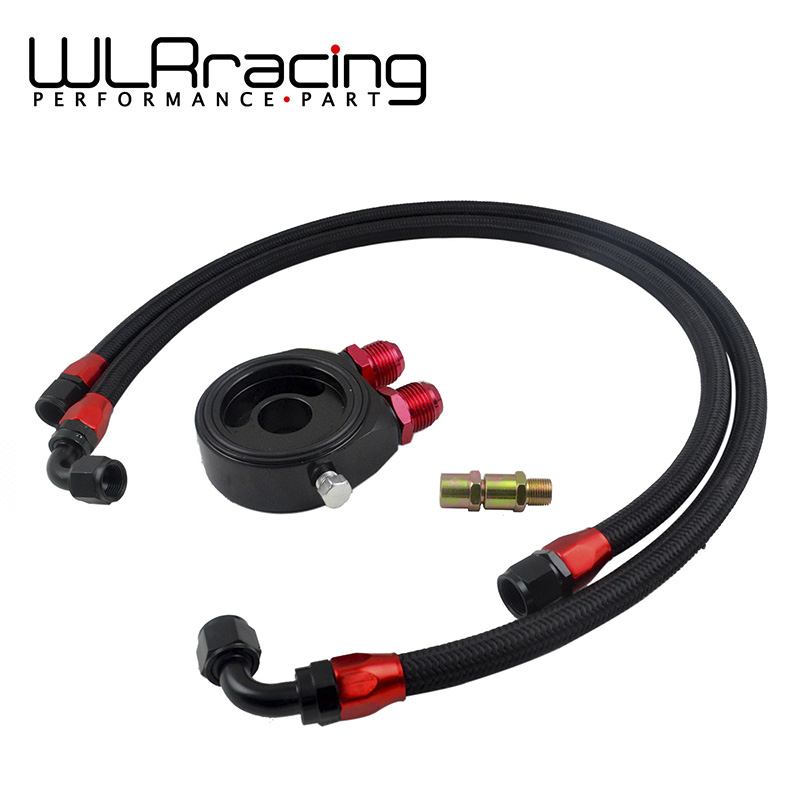 WLR RACING - OIL FILTER SANDWICH ADAPTER BLACK + SS NYLON STAINLESS STEEL BRAIDED AN10 HOSEWLR RACING - OIL FILTER SANDWICH ADAPTER BLACK + SS NYLON STAINLESS STEEL BRAIDED AN10 HOSE