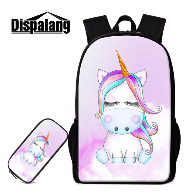 27ab20a34b 2Pcs set Unicorn Girls Backpack Pencil Case Lightweight Cartoon School Bags  For Teenager Student Schoolbag Kids Travel Backpack-in Backpacks from  Luggage ...