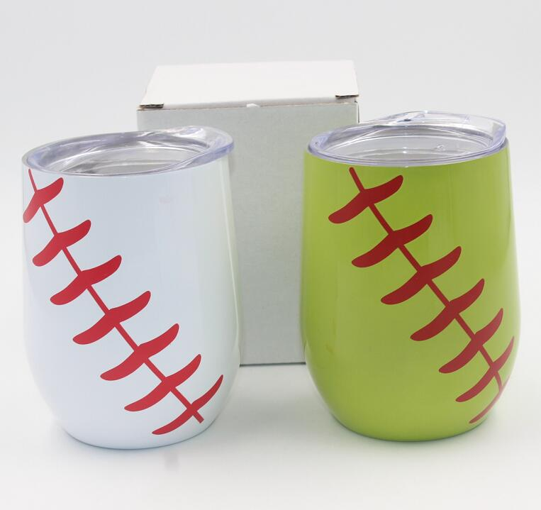 10pcs 9oz softball baseball egg cups Wine Glasses mugs Stainless Steel Double Wall Vacuum Insulated Cups