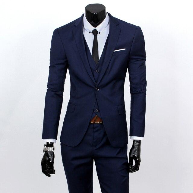 (Juego del chaleco + + pants) 2016 de los hombres de moda de tres piezas chaqueta formal traje/traje Masculino de cultiva su moralidad trajes de Negocios