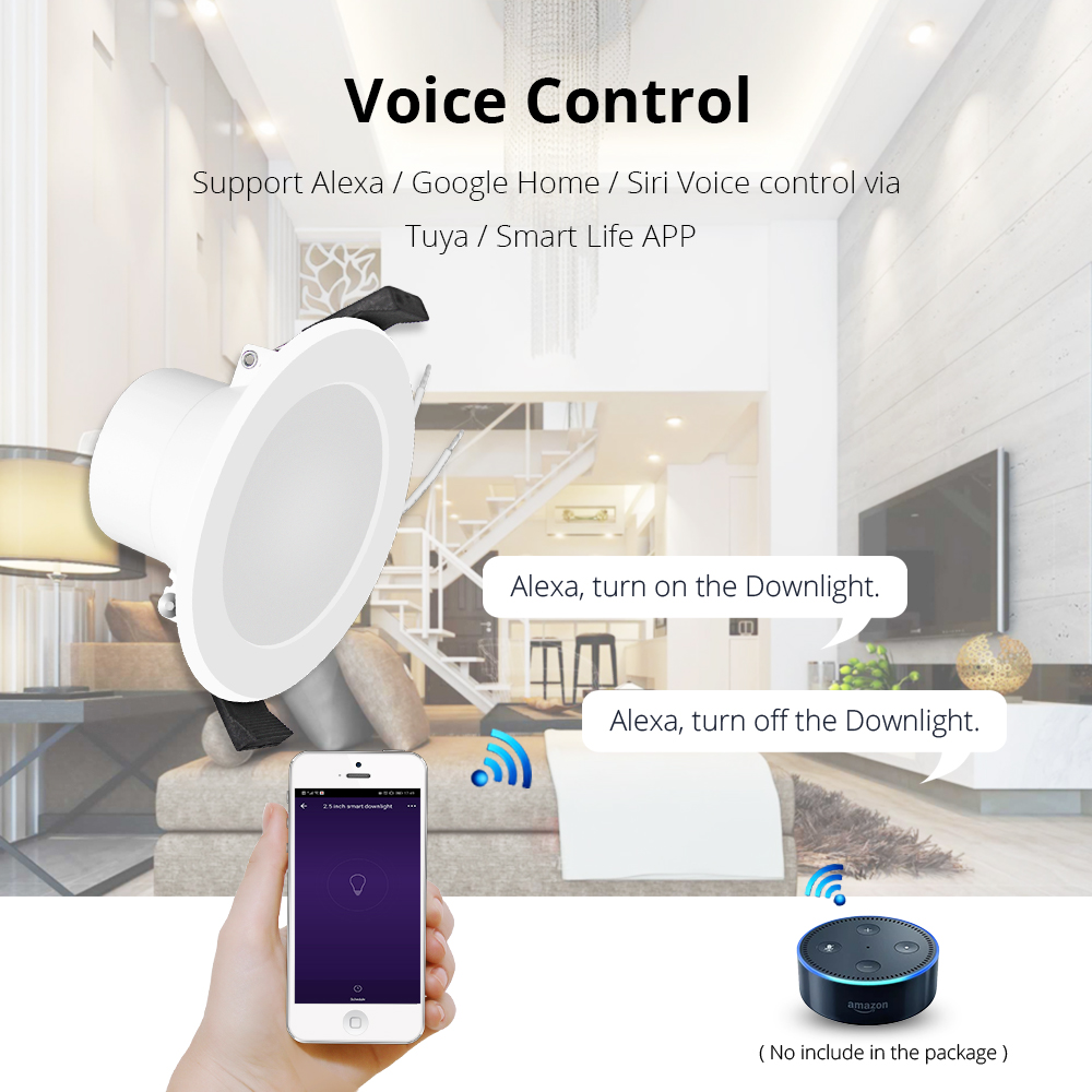 Image 2 - Smart LED Downlight, Multicolored Dimmable ,Support Alexa Echo/Google Home Assistant/IFTTT/APP Control 2.5 inch 5W-in Smart Remote Control from Consumer Electronics