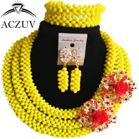 ACZUV Latest Yellow Nigerian Wedding African Beads Jewelry Set Crystal B3R019