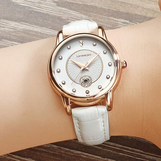 SANDA 198 Gold Creative Women Watches Leather Strap Calendar Watch Women Romanti
