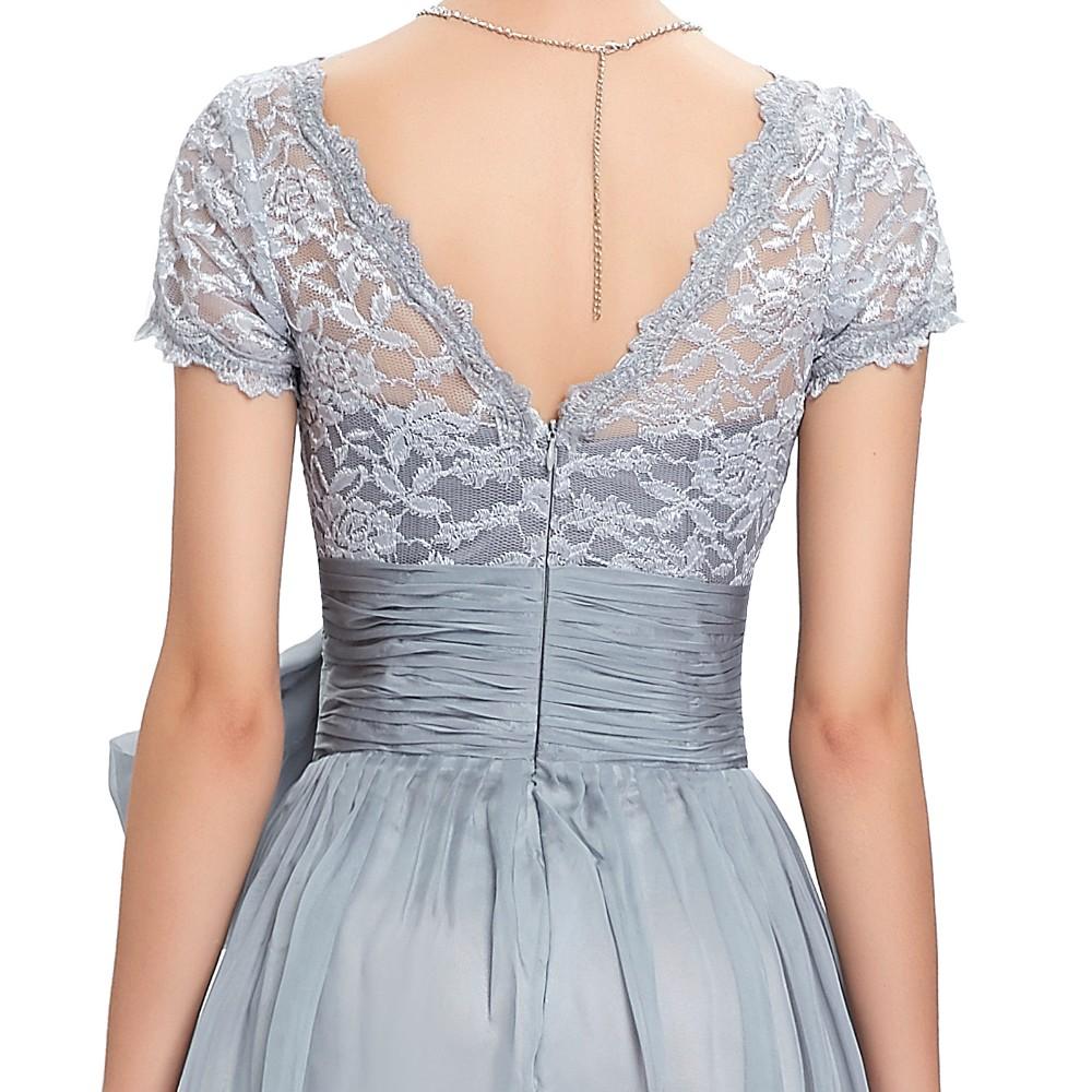 Grace Karin Chiffon Lace Elegant Long Evening Dresses Grey Formal Evening Gowns robe de soiree longue GK4445 12