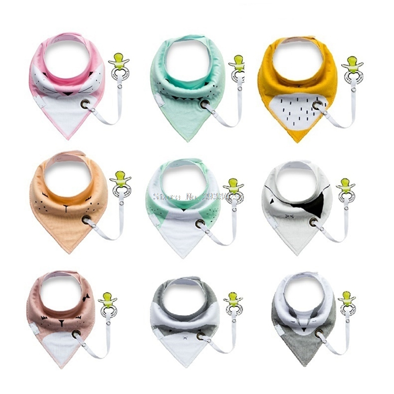 Pacifier Cartoon Triangle Cotton Towel Baby Bib Slobber Double Kids Accessories -B116