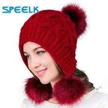 Новые женские шапки, осенне-зимние шерстяные шапочки, шапка с тремя помпонами, открытая вязанная шапка с Двойным Толстым кроличьим мехом, шапочки, Шапка-бини
