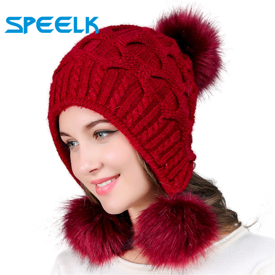 New Women Hats Autumn Winter Wool Beanies Hat Three Hair Ball Back Open Knit Hat Double Thick Rabbit Fur Hats  Bonnet Beanie Cap
