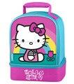 Saco de escola das crianças hello kitty caixa de dupla almoço saco kit para crianças meninas bonito dos desenhos animados lunchbox lunchbag picnic food bolsas térmicas