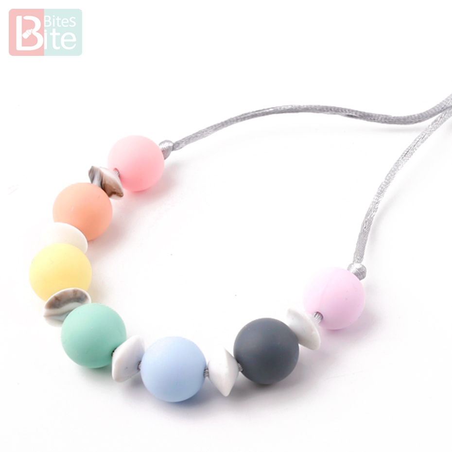 1pc Baby Silicone Chewable Teething Nursing Teeth Stick Chew Beads Necklace