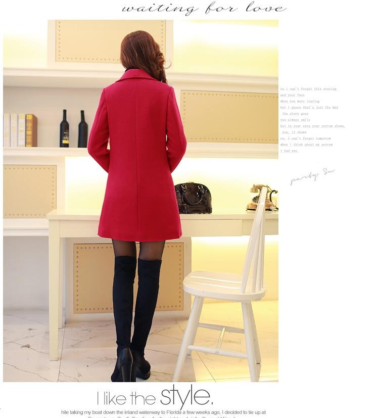 Laine yellow Manteau Section Automne dark Veste pink Revers Gray Mince De A137 Hiver black 7 red Femmes Nouvelle Élégant Coréenne Longue armygreen color Version 2016 Red qAXwBB