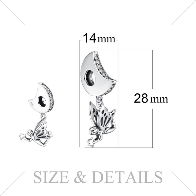 JewelryPalace 925 Sterling Silver Charms Moon Star Fairy Angle Charms Beads fit Bracelets Cubic Zirconia Jewelry for Women