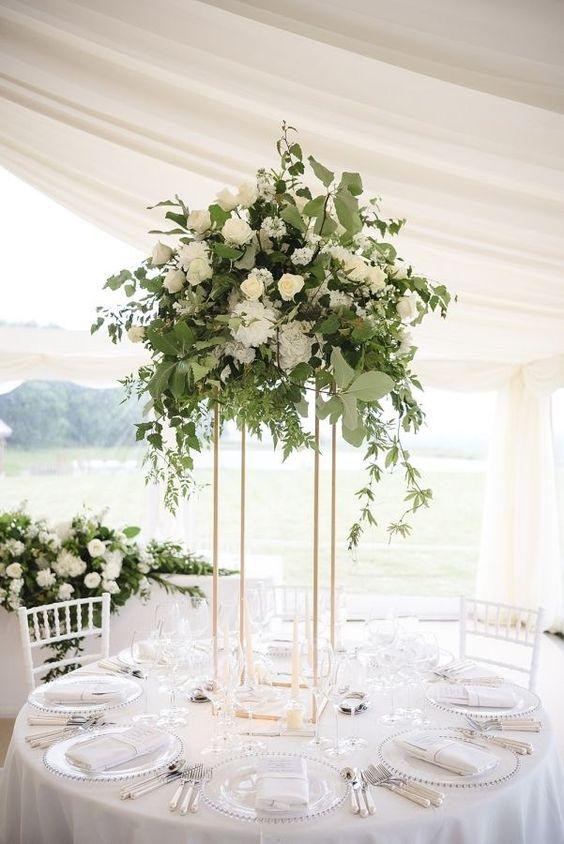 Vase de fleur en métal de mariage support de colonne en argent ou en or pour la décoration de pièce maîtresse de mariage