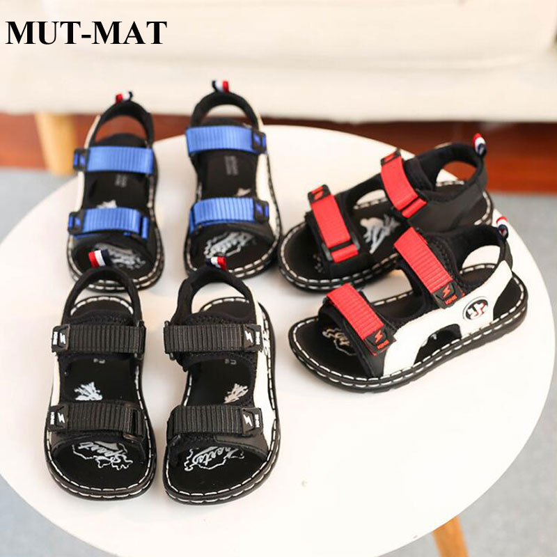 Kids Shoes Children's Leather Sandals Wearable Lightweight Waterproof Shoes Multi-color Boy Magic Sticker Beach Sandals