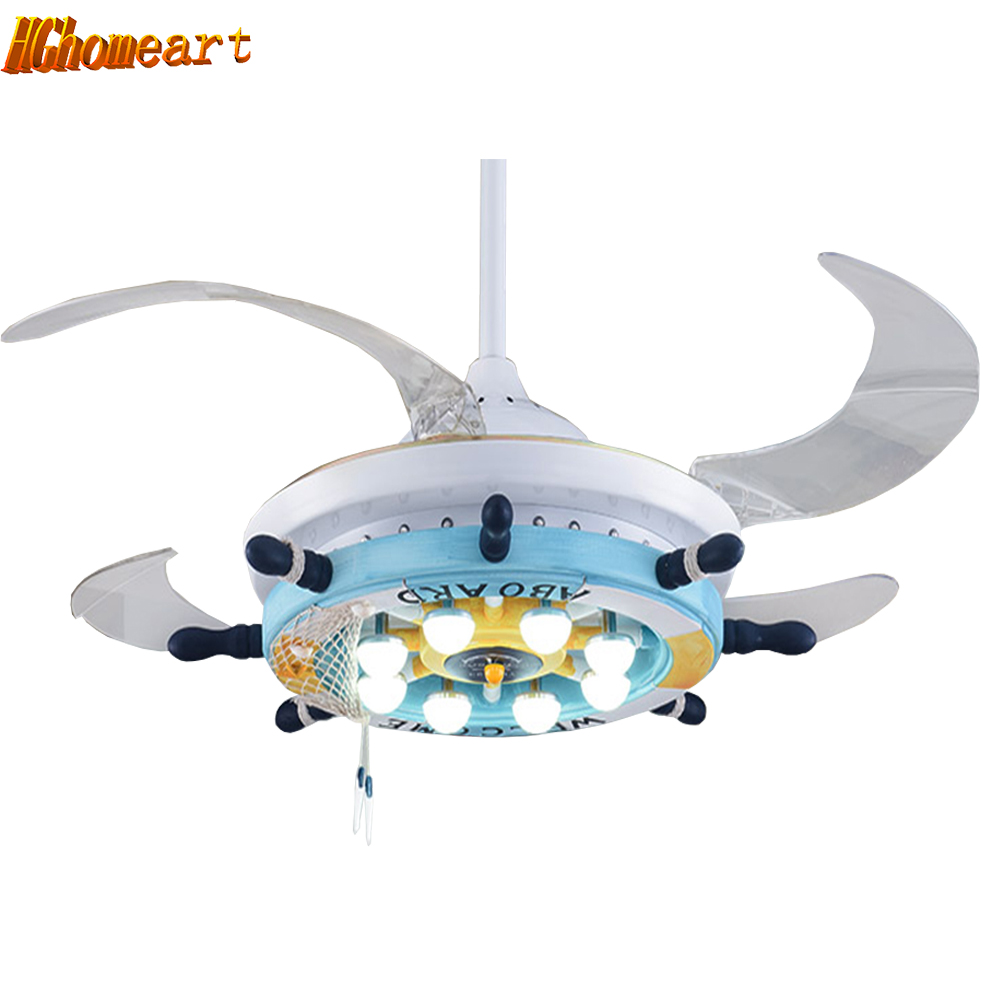 Cartoon led ceiling fans mediterranean 110v 220v led for Kids room ceiling fan