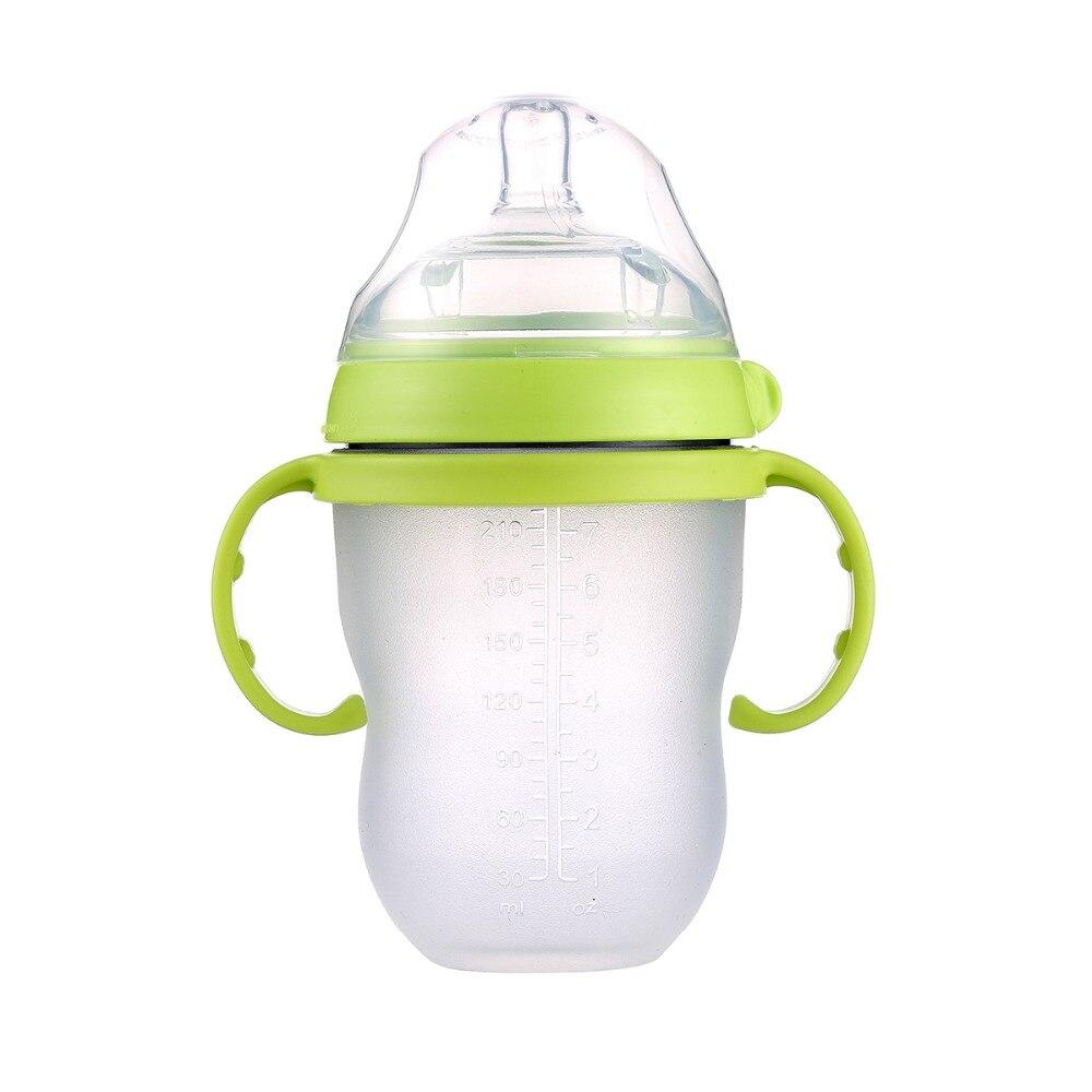 Bébé silicone Vert Bouteille 250 ml (8 oz) rose 150 ml (5 oz) bébé lait d'alimentation bouteille avec poignée