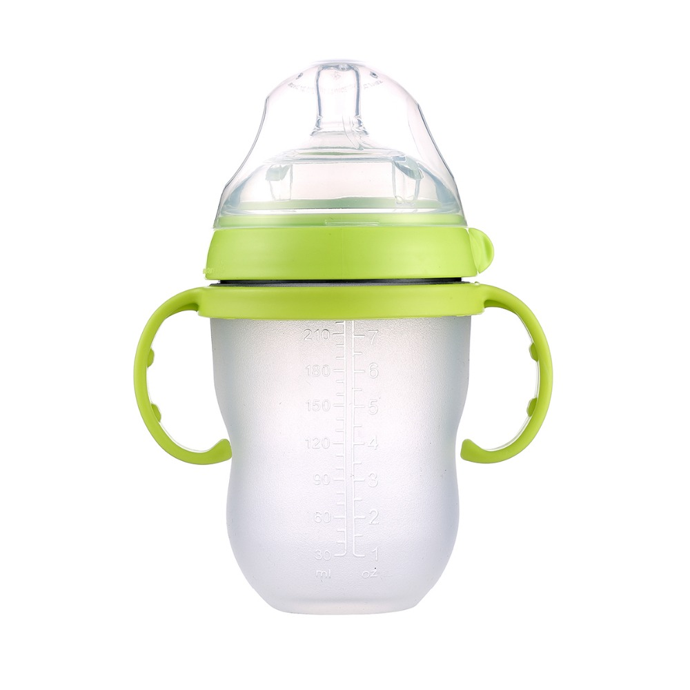 Baby silicone Bottle Green 250ml(8oz) pink 150ml(5oz) baby milk feeding bottle with handle