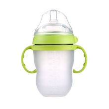 Baby silicone Bottle Green 250ml 8oz pink 150ml 5oz baby milk feeding bottle with handle