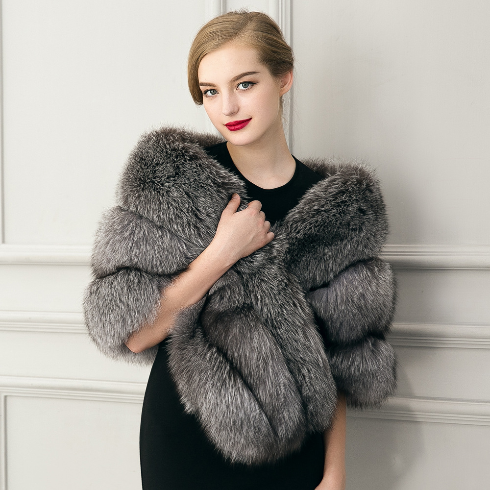 Fourrure women 39 s wrap capelets faux fur stole grey bolero wedding party evening stola bont - Polsterstoffe fur stuhle ...